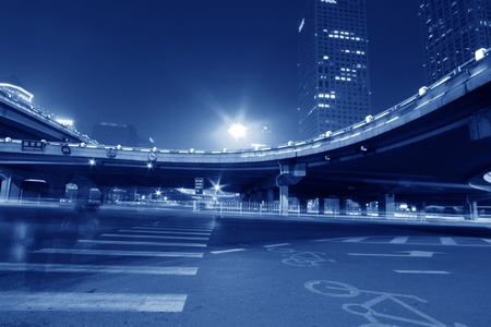 night scene of the prosperous city, under the viaduct in beijing, China