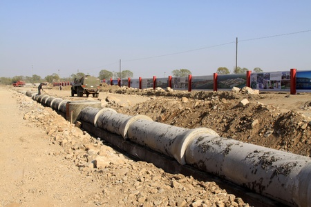 water feature: drainage pipe construction site in north china