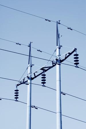 Elektrischer Draht Pole In Den Blauen Himmel Im Ländlichen China ...