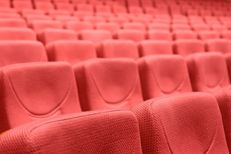 uncluttered: red chairs in a theatre, north china  Stock Photo