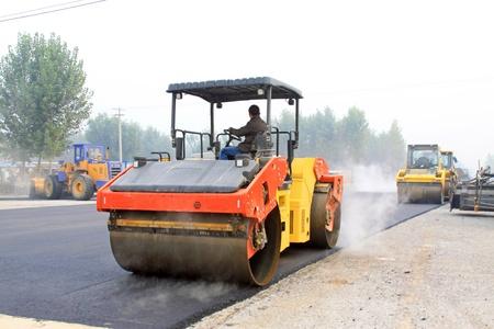 October 19, 2011  Highway construction site, Luannan County, Hebei province, China Banco de Imagens - 13558319