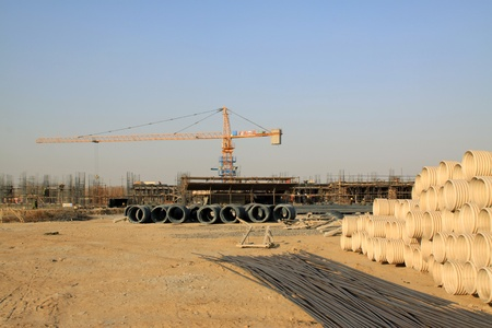 construction site materials and crane in North china photo