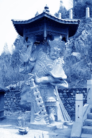 preached: closeup of buddhism bodhisattva statues in a temple, north china