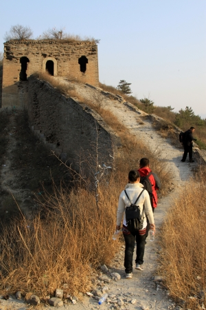 tourists on the original ecology of the great wall pass in north china Stock Photo - 13626778