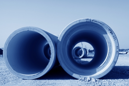 drainage pipe construction site in north china photo
