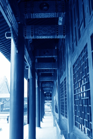 colored drawing or pattern corridor, ancient Chinese traditional architectural style, north china  Stock Photo - 13622956
