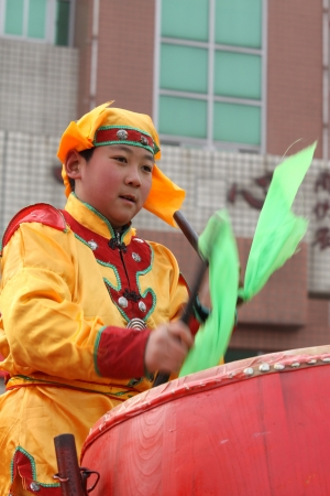February 28, 2010  Beat drums shows arts percussion, during the Spring Festival, on the street, north china