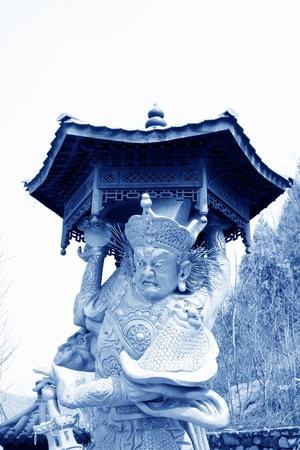 closeup of buddhism bodhisattva statues in a temple, north china