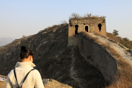 tourists on the original ecology of the great wall pass in north china photo