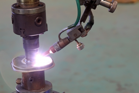 argon arc welding, Inert gas shielded arc welding in a Workshop photo