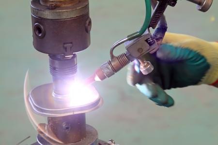 argon arc welding, Inert gas shielded arc welding in a Workshop Banco de Imagens