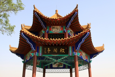 pavilion under the blue sky in a park north china Stock Photo - 18193380