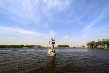 mermaid sculpture in the water in a park, north china Stock Photo - 18190300