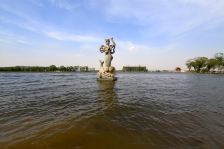 mermaid sculpture in the water in a park, north china Stock Photo - 18190292