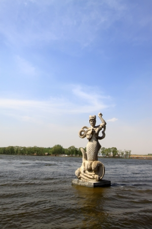 mermaid sculpture in the water in a park, north china Stock Photo - 18189982