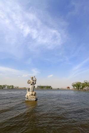 mermaid sculpture in the water in a park, north china Stock Photo - 18189976