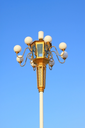 closeup of Chinese Style Lamp in the blue sky photo