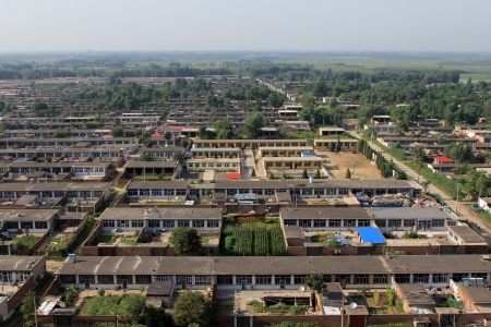 impoverished: from a height overlooking the small cottage in a town, north China