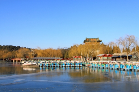 lake and mountain scenery in winter, in the Summer Palace, Beijing, north china photo