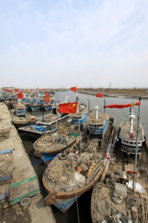fishing boats moored in the ZuiDong fishing Wharf, Luannan County, Hebei Province, China