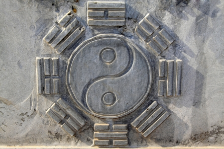 ancient relics: Chinese Eight Trigrams in the gray rock in a temple, north china