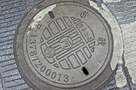 metal catch basin manhole cover in the street in China