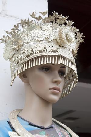 miao: Phoenix County, A model wearing Miao silver jewelry, Phoenix County, Hunan Province, China  Stock Photo
