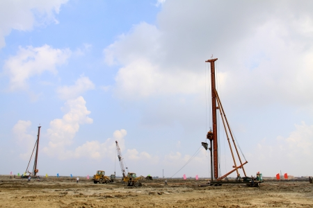 closeup of piling machinery at a construction site, north china
