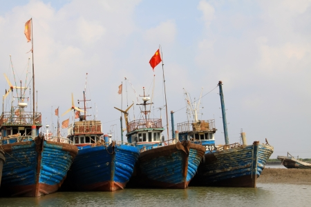 quay ships under the blue sky, north china Stock Photo