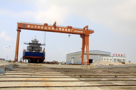 being constructed in the freighter in a shipyard, north china