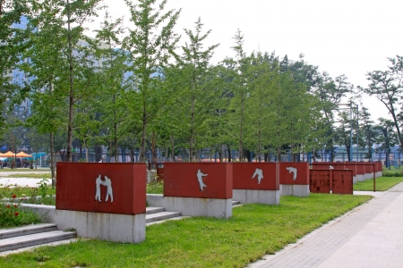 landscape architecture on campus, University of Science and Technology Beijing gymnasium