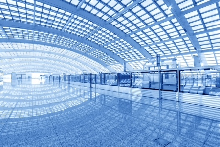 glass ceiling: scene of T3 airport building in beijing in china