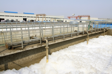 Luannan County, March 6, 2012   Sewage treatment plant closeup in an industrial enterprise, Hebei Province, China