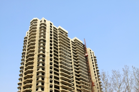 unfinished building under the blue sky, north china photo