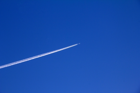 trajectory: Trajectory of an airplane in the sky, closeup of pictures