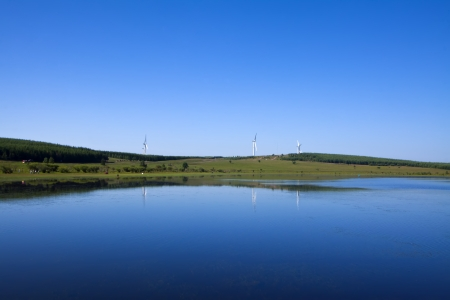 impeller: lake and blue sky, beautiful natural scenery in North China Stock Photo