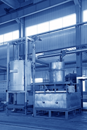 manufacturing production line filling equipment in a workshop