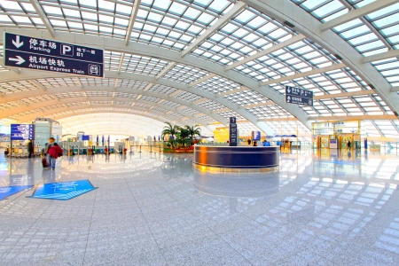 scene of T3 airport building in beijing in china