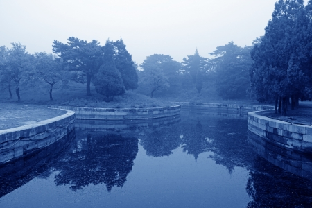 hebei: Pond landscape architecture in Zunhua City, Hebei Province, china Stock Photo