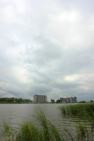 greening: architecture landscape and greening plant by a river, China.