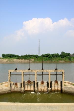 sluice: closeup of pictures, river lock door north china