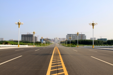 Building lighting and expedite road in broad field of vision, north china photo