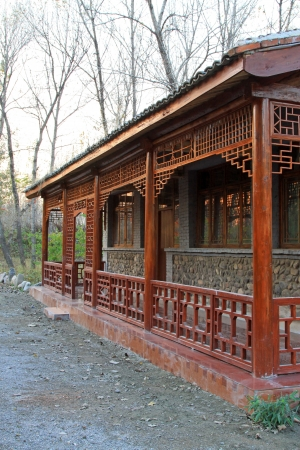 Traditional Chinese wooden building in a park, north China