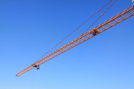 crane tower under the blue sky, at a construction site, north china Stock Photo - 20341493