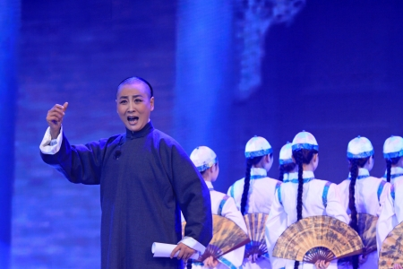 selections: Luannan, November 28, 2012  The famous Peking Opera artist Zhang Junling was performing Beijing Opera   Cheng zhaocai   selections, in the Chengzhaocai theatre, November 28, 2012, Luannan, china   Editorial