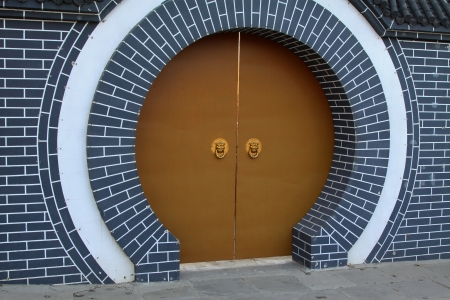 moon gate: closeup of moon gate, Chinese traditional architectural