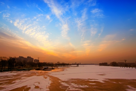 low temperature: river scenery in winter, in north china