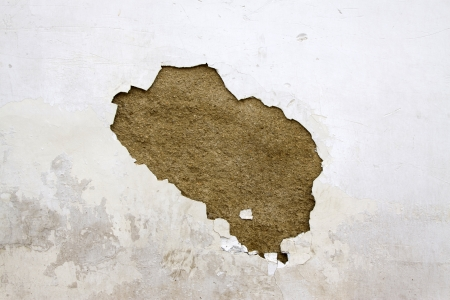 broken white walls in a building, fell into disrepair Stock fotó