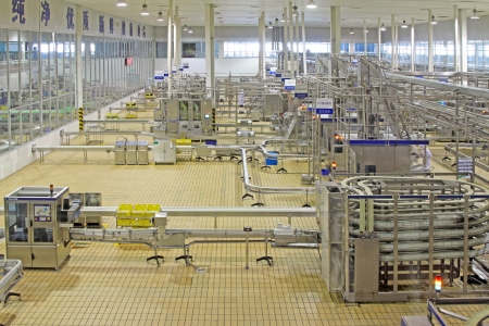 Luannan County, February 18th  China Mengniu Dairy Company Limited, a modern dairy processing production line in February 18, 2012, in Luannan County, Hebei Province, China