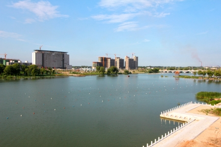 greening: beautiful landscape in a water park under the blue sky, northern china Stock Photo